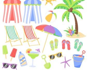 Beach Clipart, Tropical Clipart, Summer Clipart, Beach Graphics, Printable, Commercial Use