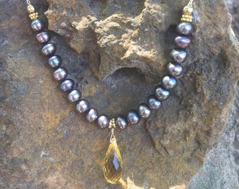 Citrine & Pearl Necklace