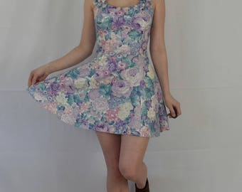 MARGUERITE | 80's mini dress | vintage dress | party dress | floral print | small