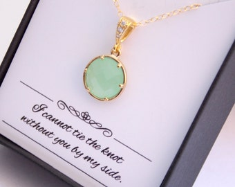 Gold Light Green Mint Necklace, Pistachio Necklace, Gold Filled Green Mint Pendant, Bridesmaid Necklace, Bridesmaid Jewelry, Wedding Jewelry