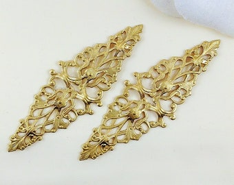 4 pcs, Raw Brass Filigree, Diamond Filigree, Cabochon Wrap, Brass Connector, Brass Finding, 64mm x 21mm - (r156)