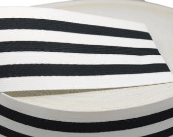 "1 yd Black and White Striped Elastic - 3"" (AC02)"
