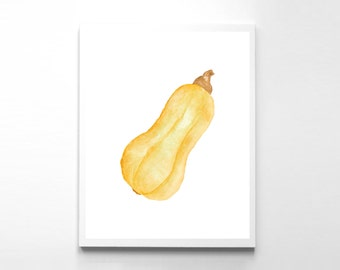 Digital Wall Art, Squash Print, Instant Download, Vegetable Print, Kitchen Print, Pumpkin Print, Squash Poster, Watercolor Print, Food Print