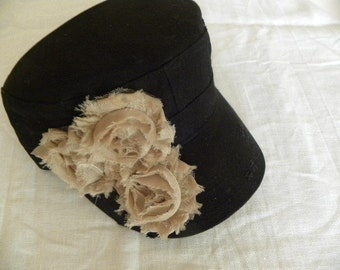 Black  Cadet Style Hat 3 Natural Color Silky Rosetts .