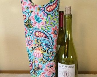 Wine Gift - Wine Bag - Wine Bottle Holder - Wine Bottle Tote - Wine Bottle Bag - Wine Lover Gift - Gift for Wine Lover - Quilted Tote - Wine