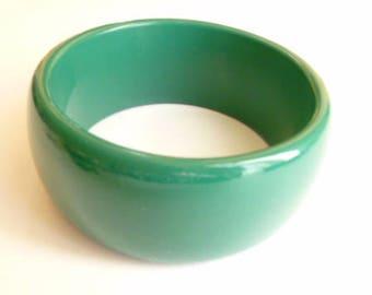 Wide Bangle, Green Bangle, Wide Cuff Bracelet, Vintage Bangle