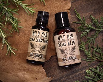 Beard Care Gift Set Wild Man TWO PACK Beard Oil Conditioner and Beard Wash