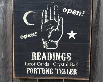 Psychic Readings Fortune Teller Wood Sign, Primitive, Rustic, Folk Art