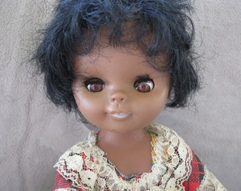 Kitschy Doll Vintage African American 11inches tall Vintage Dolls Old Dolls Free Shipping