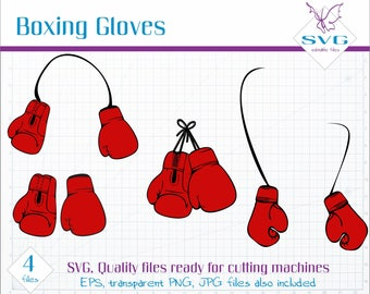 Red Boxing Gloves SVG clipart, Vector clip art, Boxing SVG file, Boxing Gloves cut file, Vector art, Boxing Glove, Cutting machine file