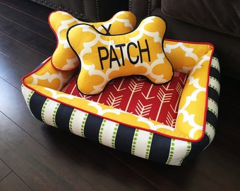 Custom Dog Bone Pillow | Free embroidery | Choose your fabric | Dog Accessories | Dog Bedding | Dog Bed | Pet Bed | Gifts for Dogs |