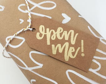 Hand Lettered Open Me Tags! | Gift Tags |