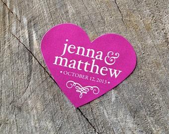 Bold Color Wedding Labels - Wedding Stickers - Envelope Seals - Favor Labels - Goody Bag Labels - Colorful Hot Pink - Set of 50