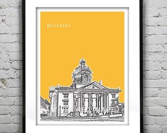Moultrie GA Skyline Poster Art Print  Colquitt County Georgia