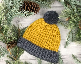 Mustard beanie, knit accessories, mustard hat, knitted ski hat, pom pom hat, modern skiwear, ladies knitwear, knitted beanie hat, bobble hat