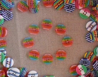 Translucent and striped buttons multicolored, pink/red/yellow/green/blue - new, sold by 8