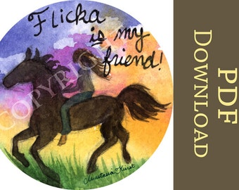 Flicka is My Friend! INSTANT DOWNLOAD Digital girl, horse, sunset, horsey, horse lover, equine, King of the Wind PDF art print