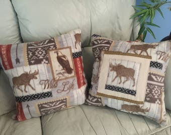 2 Hand Sewn Pillows WildLife Adventure Southwestern Arrow Eagle Moose SOFT Anti-Pill Fleece Decorative Pillows Rustic Cabin Mountain Decor