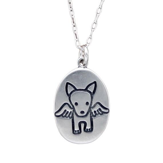 Angel dog necklace sterling silver dog pendant dog te gusta este artculo aloadofball Image collections