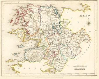 County Mayo Ireland - 1837 - Antique Irish Map - FREE WORLDWIDE SHIPPING
