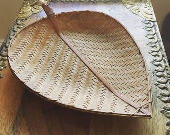 American Handwoven Wooden Leaf Basket
