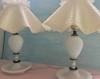 Vintage Milk Glass Hobnail Lamps and Shades, Set of 2 Lamps, Country Cottage Chic