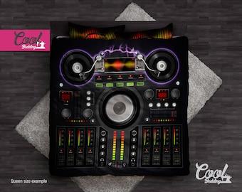 DJ Mixer Bedding Set, Duvet Cover Sound Mixer, Queen Full Twin Bedding, Hand-drawn Bedroom Decor  40