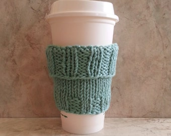 2 in 1 Coffee Cup Cozy Hand Knit Mint Green fit a Short or Grande sized Coffee to go Hand Knit Cotton Fabric