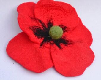 Felt Poppy Brooch, red Felt Flower Brooch, Poppies Remembrance Day, Poppy Appeal Brooch, felt poppy, poppy brooch, felted poppy brooch