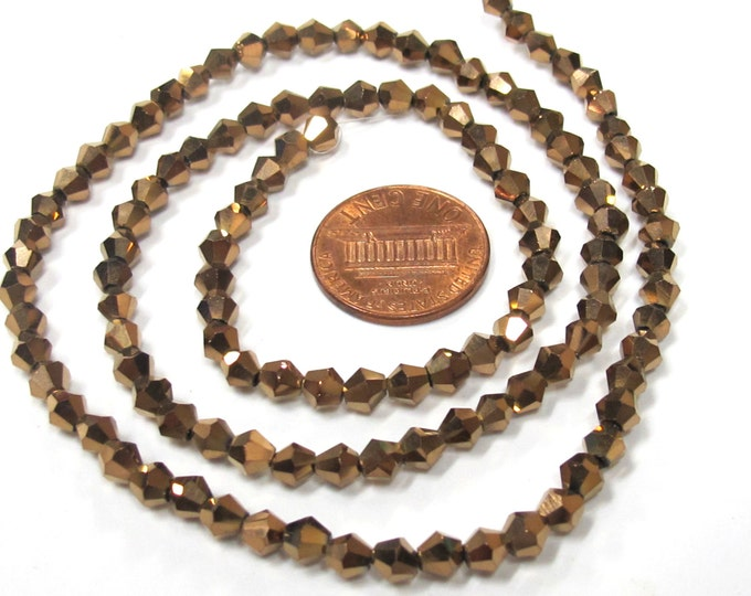 1 Full strand - 16 inches Faceted bicone AB brownish bronze color crystal glass beads 4 mm size - AB043