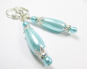 SALE 25% off! Aqua Turquoise Pearl Teardrop Bridal or Bridesmaid Earrings on Silver plate leverbacks