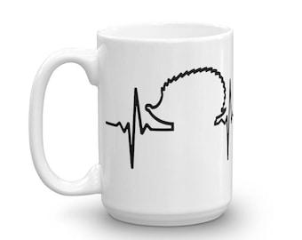 Hedgehog Heartbeat Ceramic Coffee Mug - Cute Hedgehog Lover Gift - I Love Hedgehogs Mug