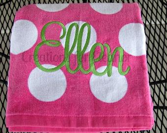 Monogrammed Beach Towel, Monogram Beach Towel, Polka Dot Beach Towel, Monogrammed Towel, Bridesmaids Gift, Teachers Gift, Beach Towel, Gift