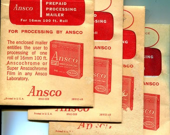 Photographica, Vintage Prepaid Ansco Developing Envelopes for 16 mm Movie Film, From the Early 1960's