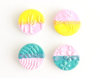 Colorful Magnets, Plant Magnet, Gift for Plant Lovers, Plant Lady Gift, Magnet Set of Four, Cactus Decor, Gift under 25, Refrigerator Magnet