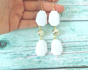 White and Gold Pierced Drop Handmade Earrings