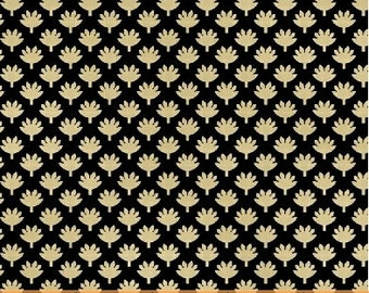 SUPER CLEARANCE! One Yard Fan Leaf in Black - Crazy For Shelburne Cotton Quilt Fabric - Windham Fabrics (W471)