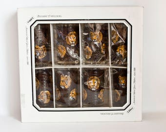 Vintage NEW Libbey African Safari Glassware Set, M Dia Lion Cheetah Buffalo Barware Glasses Water Tumblers, Never Used with BOX