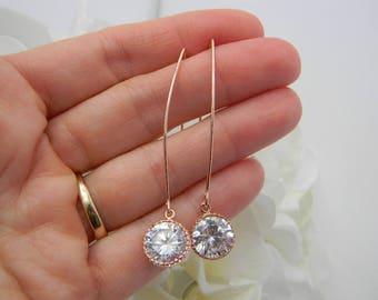 Rose Gold Earrings Bridesmaid Gift Bridesmaid Earrings Bridal Earrings Bridesmaid Jewelry Set  Rose Gold Jewelry Bridesmaid Jewelry Gift