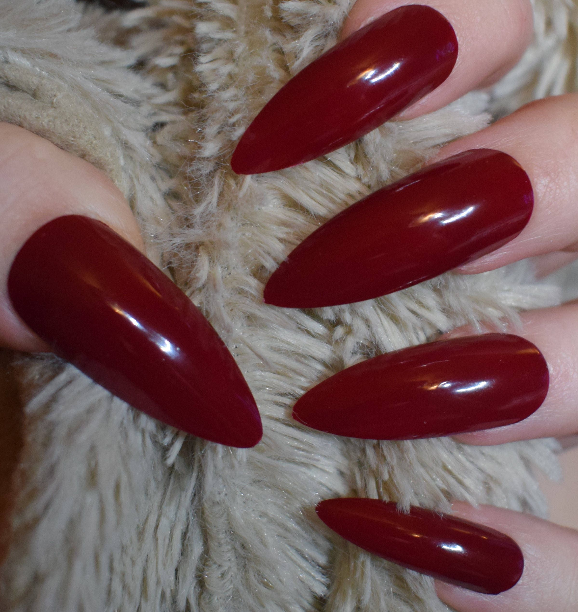 Dark Red Fake Nails, Extra Long Stiletto False Nails, Hand Painted ...