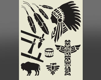 Native American Mixed Stencil - Various Sizes -Made From High Quality Mylar