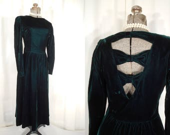 Vintage 1980s Dress   Dark Green Velvet Maxi Dress   Boho Gothic Holiday Dress by Lanz