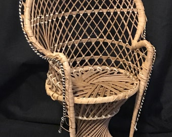 Vintage Doll Chair, Doll Display. Rattan Doll Chair, Large Princess Chair, Cottage Chic, Doll Collector SALE PRICE was 20.00 now 17.00