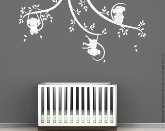White Monkey Tree Branches Wall Decal by LittleLion Studio