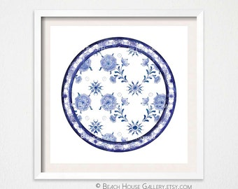 chinoiserie plate art print asian plate wall art blue and