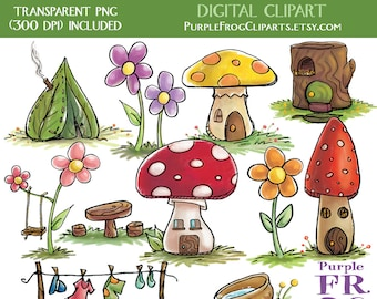 TINY HOUSES - Digital Clipart, Clip art. 11 images, 300 dpi. jpeg, png files. Instant download.