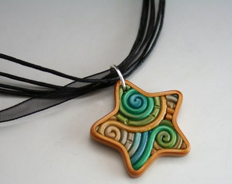 Green, Gold, Silver Star Pendant in Polymer Clay Filigree