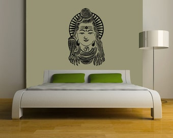 Lord Shiva vinyl Wall DECAL- Hindi Hindu India interior design, sticker art, room, home and business decor