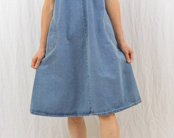 Vintage Oversized Denim Jumper, Size Small, Overall Dress, Mori Girl, Shabby Chic, Rustic, 80's-90's