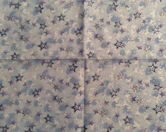Sale! Hoffman Christmas Sky Blue Stars Cotton Fabric Fat Quarter